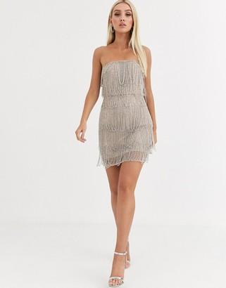 Asos Design DESIGN loop embellished fringe mini dress-Beige