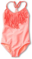 Roxy Kids - Wild and Free Sporty Fringe One Piece (Toddler/Little Kids) (Neon Coral) - Apparel