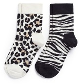 Happy Socks Zebra and leopard toddler socks 2-pair pack
