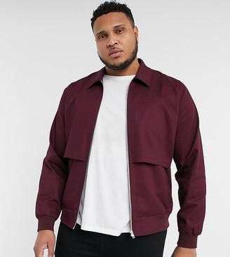 ASOS DESIGN Plus harrington jacket with storm vent in burgundy