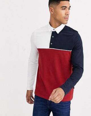 Burton Menswear polo with red colourblocking
