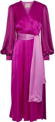 Roksanda Elena Wrap-effect Two-tone Silk-satin Midi Dress