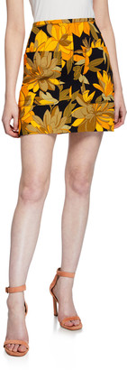 No.21 Floral Print Mini Skirt