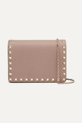 Valentino Garavani Rockstud Textured-leather Shoulder Bag - Pastel pink