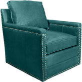 Horchow Avis St. Clair Peacock Blue Leather Swivel Chair