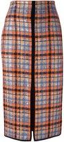 MSGM front slit checked skirt - women - Wool/Polyamide/Polyester - 40