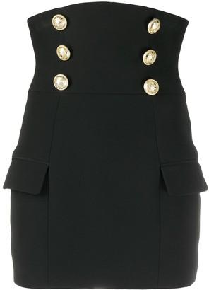 Balmain High Waist Buttoned Crepe Skirt