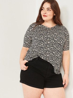 Old Navy Luxe Leopard-Print Plus-Size V-Neck Tunic Tee