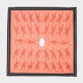 Paul Smith Men's Burnt Orange 'Dino' Print Silk Pocket Square