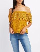Charlotte Russe Crochet-Trim Lace Off-The-Shoulder Top