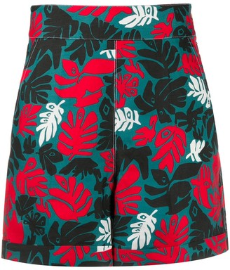 Marni Leaf Print Straight Shorts