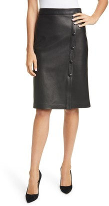Nordstrom Signature Nordstom Signature Button Detail Leather Skirt