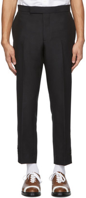 Thom Browne Black Wool Vented Slim Trousers