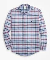 Brooks Brothers Non-Iron Milano Fit Vista Blue Plaid Sport Shirt