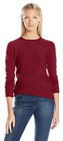 Sag Harbor Women's Long Sleeve Braided Cable Crew Neck Cashmerlon Sweater