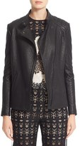 Yigal Azrouel Lace-Up Detail Lambskin Leather Jacket