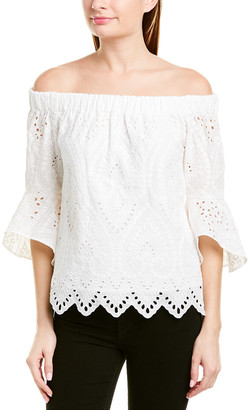 Trina Turk Womens Ojai Lace Embroidery Top