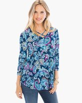 Chico's Morning Mist Caged Top