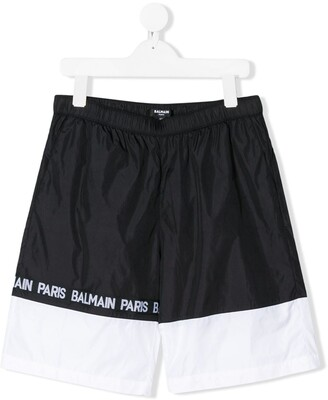 Balmain Kids Monochrome Striped Logo Printed Swimming Shorts