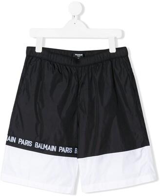 Balmain Kids monochrome striped logo printed swimming shorts