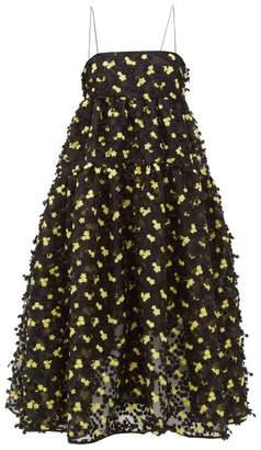 Cecilie Bahnsen - Sofie Floral Applique Organza Midi Dress - Womens - Black Yellow