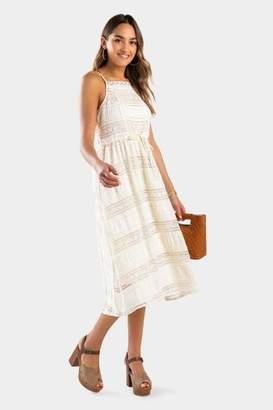 francesca's Evann Lace Midi Dress - Rose