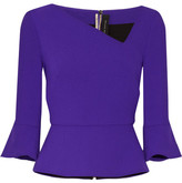 Roland Mouret Asymmetric Wool-crepe Peplum Top - Purple