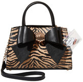 Betsey Johnson Bow You See It Tiger Removable Bow Satchel