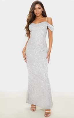 PrettyLittleThing Silver Sequin Cowl Neck Bardot Maxi Dress