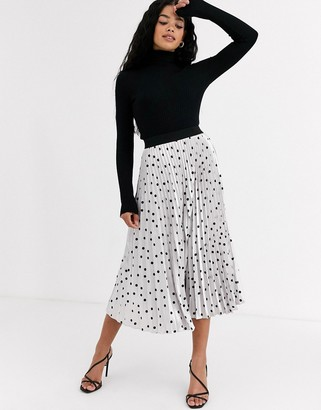 Outrageous Fortune pleated midi skirt in metallic polka print