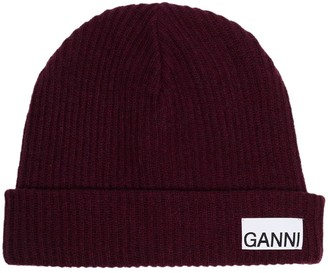 Ganni Logo-Patch Ribbed-Knit Beanie