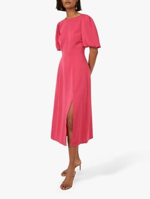 Warehouse Puff Sleeve Midi Dress