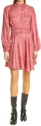 By Ti Mo Jacquard Gathers Long Sleeve Minidress