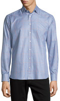 Etro Plaid Long-Sleeve Sport Shirt, Burgundy/Navy