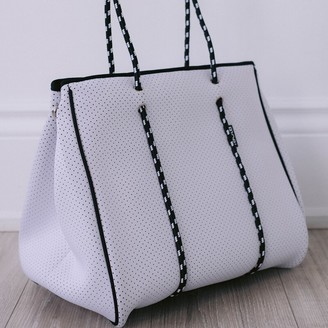 Bag And Bougie White Bougie Zippered Tote