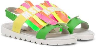 Msgm Kids TEEN colour block logo sandals