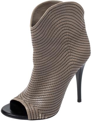 Giuseppe Zanotti Dark Beige Stitch Detail Leather Peep Toe Ankle Booties Size 37.5