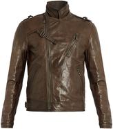 Bottega Veneta Intrecciato-trimmed leather biker jacket