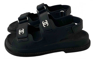 Chanel Dad Sandals Navy Rubber Sandals