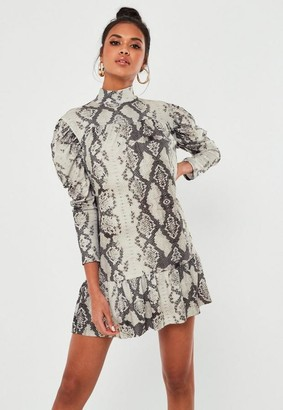 Missguided Gray Snake Print High Neck Smock Dress