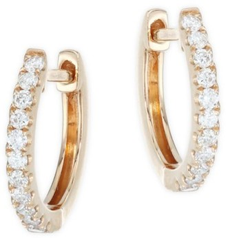 Anita Ko 18K Rose Gold Small Diamond Huggie Earrings
