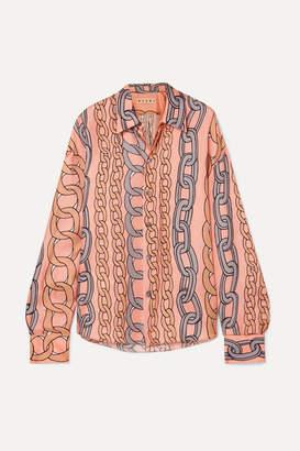 Marni Printed Silk-twill Shirt - Peach