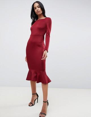 Club L London peplum frill midi dress with boat neckline-Red