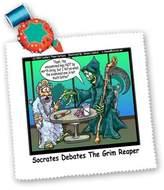 3dRose LLC qs_1866_1 Londons Times Religion Heaven Hell Cartoons - Socrates Debates Grim Reaper On Unexamined Life - Quilt Squares