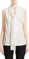 St. John Women's Fringed Fil Coupe Shell With Detachable Scarf