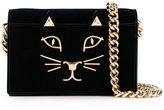 Charlotte Olympia Feline shoulder bag - women - Velvet/metal - One Size