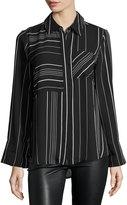 Neiman Marcus Stripe-Print Chiffon Blouse, Black/White
