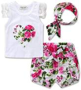Mrs.Baker'Home 3pcs Infant Baby Girls Blooms Floral Lace T-shirt+Short Pants+Headband Outfits (0-6 M, )