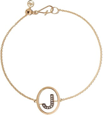 Annoushka 18kt yellow gold diamond initial J bracelet