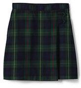 Classic Little Girls Plaid A-line Skirt Below the Knee Navy/Evergreen Plaid